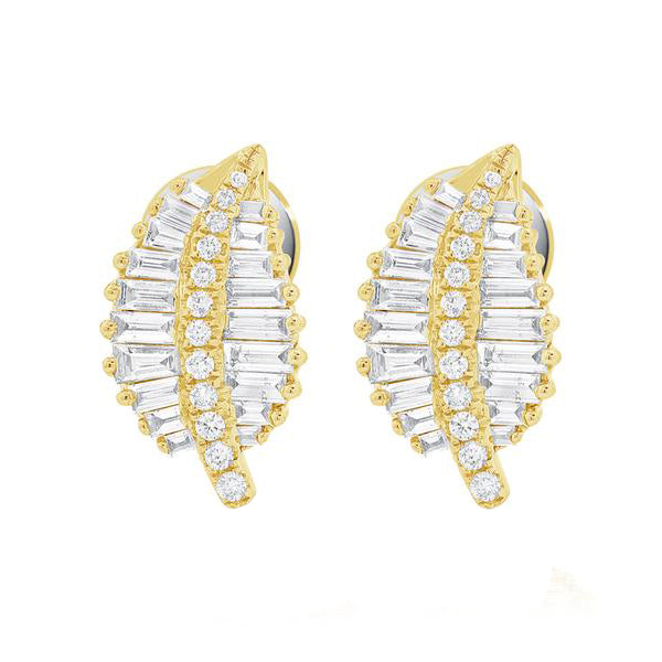 14K GOLD DIAMOND ADDIE LEAF STUDS