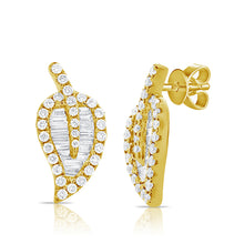 14K GOLD DIAMOND MINI HALLIE LEAF STUDS