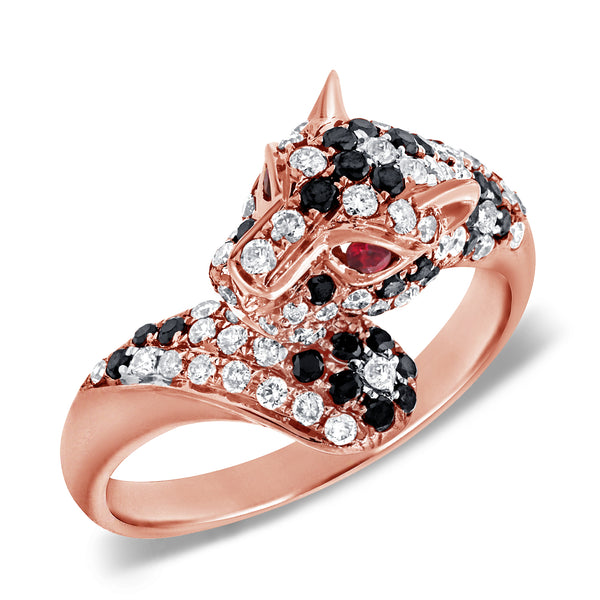 14K GOLD DIAMOND RUTHIE JAGUAR RING