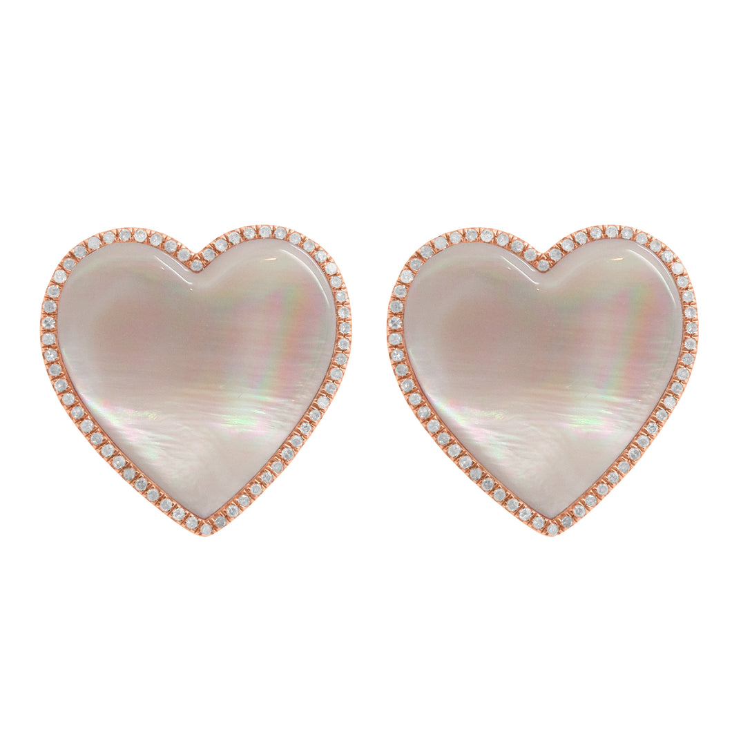 14K GOLD DIAMOND LARGE PINK MOTHER OF PEARL HAILEY HEART EARRINGS