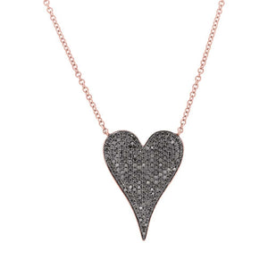 Black Diamond Heart Necklace in 14k Gold (All Colors)