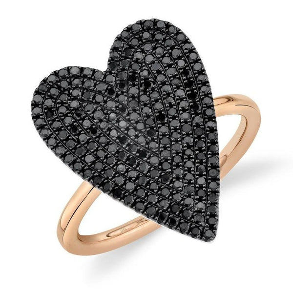 14K GOLD BLACK DIAMOND LARGE JANINE HEART RING