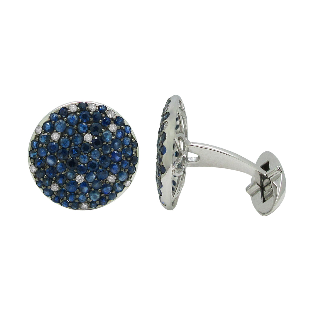 18K GOLD DIAMOND BLUE SAPPHIRE ASHER CUFFLINKS