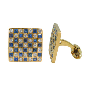 14K GOLD DIAMOND BLUE SAPPHIRE LOGAN CUFFLINKS