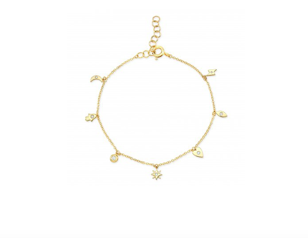 14K GOLD DIAMOND CHARM BRACELET