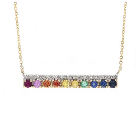 14K YELLOW GOLD DIAMOND RAINBOW BAR SAMARA NECKLACE