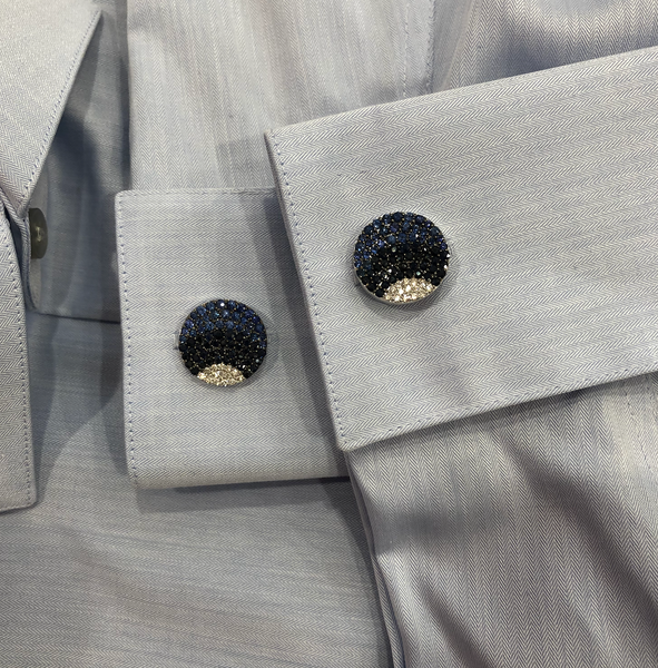 14K WHITE GOLD DIAMOND BLUE SAPPHIRE JACK CUFFLINKS