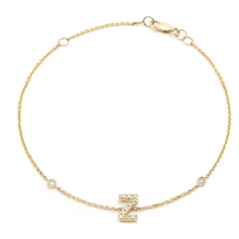 14K GOLD DIAMOND INITIAL BRACELET