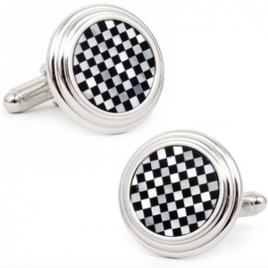 ONYX AND MOTHER OF PEARL CHECKED CUFFLINKS