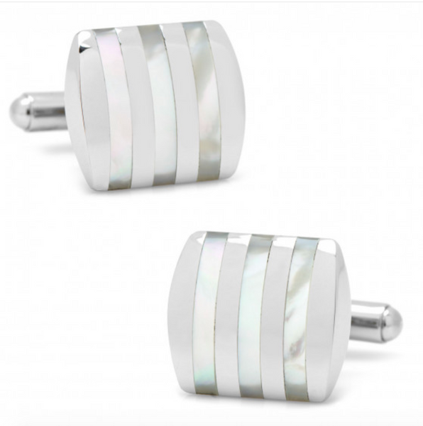 STAINLESS STEEL MOTHER OF PEARL CUFFLINKS