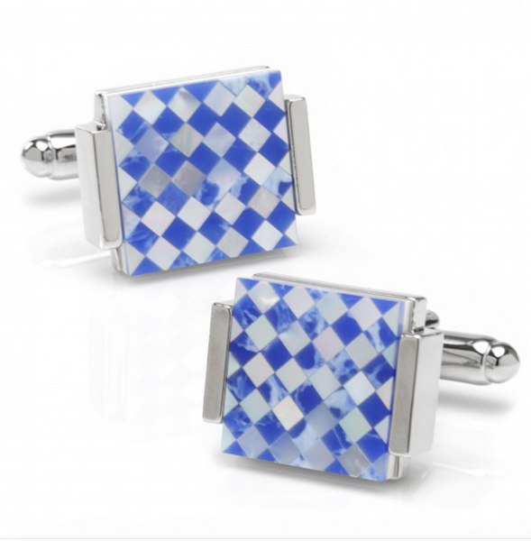 MOTHER OF PEARL CHECKED CUFFLINKS