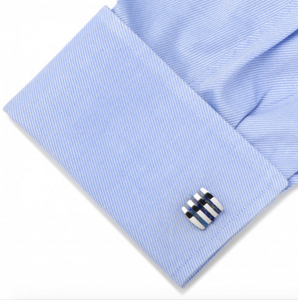 STAINLESS STEEL LAPIS STRIPED CUFFLINKS