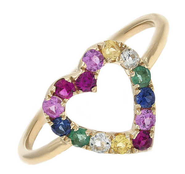 14K GOLD SAMARA RAINBOW HEART RING