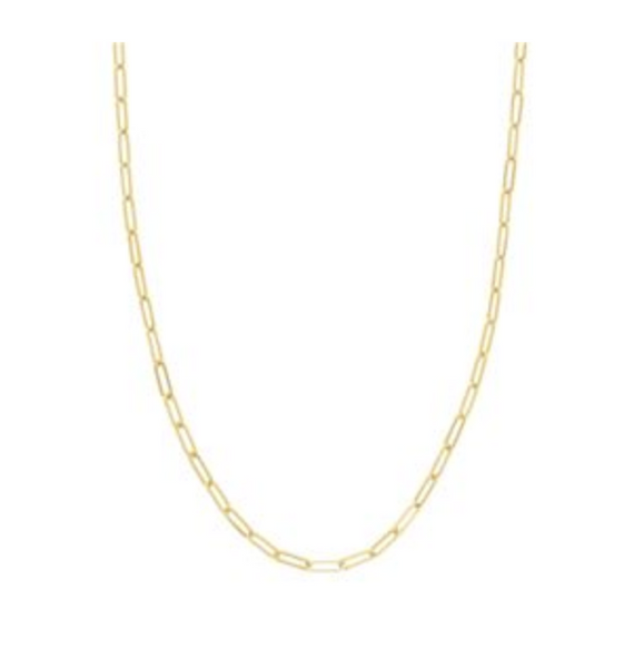 14K GOLD FLAT WIRE LONG LINK CHAIN
