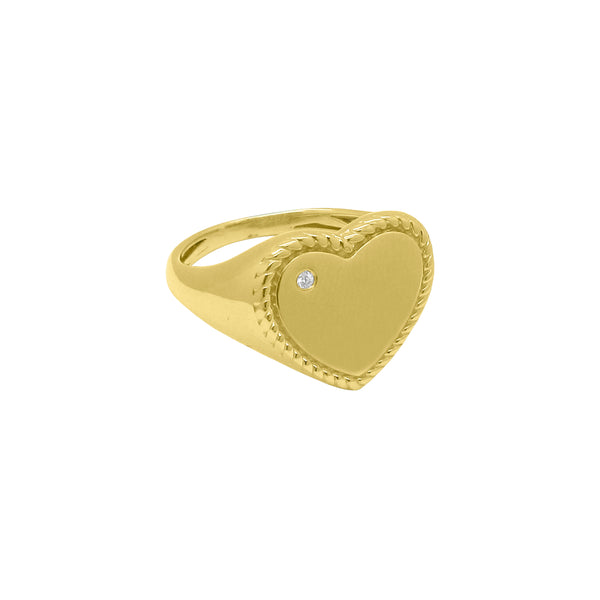14K GOLD DIAMOND HEART SIGNET RING