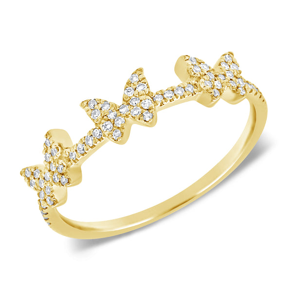14K GOLD DIAMOND SALEX BUTTERFLY RING