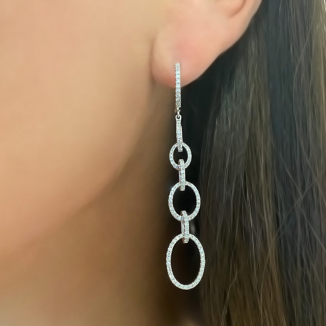 14K WHITE GOLD DIAMOND RILEY EARRINGS