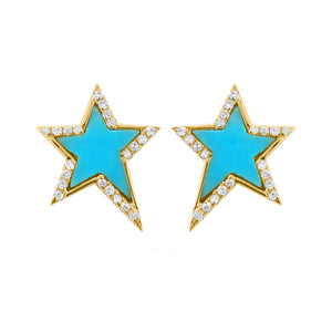 14K GOLD DIAMOND MAYA STAR STUDS (MORE COLORS AVAILABLE)