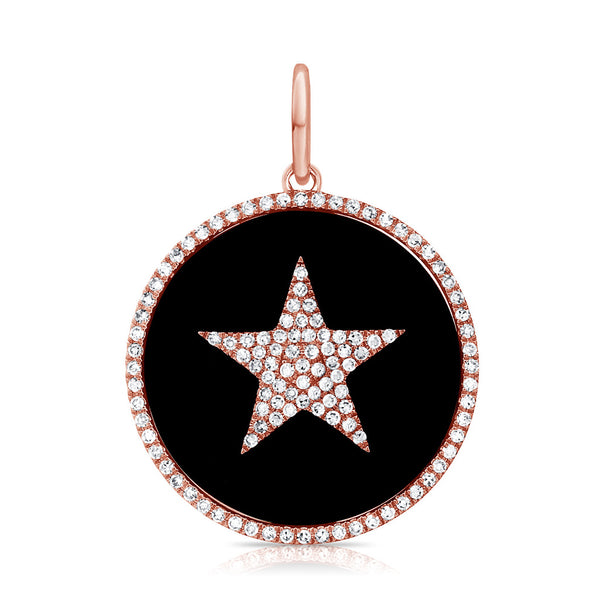 14K ROSE GOLD DIAMOND BLACK AGATE STAR CHARM