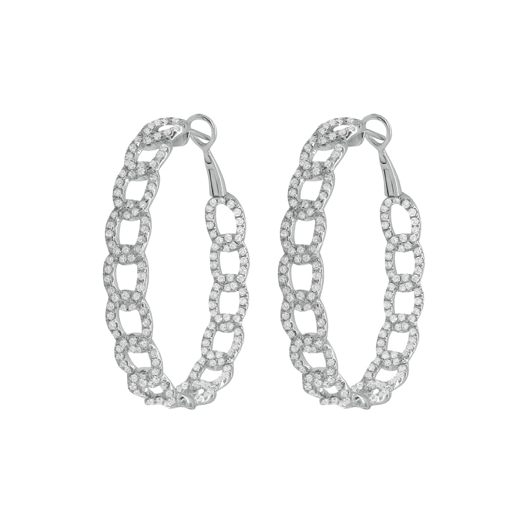 14K GOLD DIAMOND LARGE CHAIN HOOPS