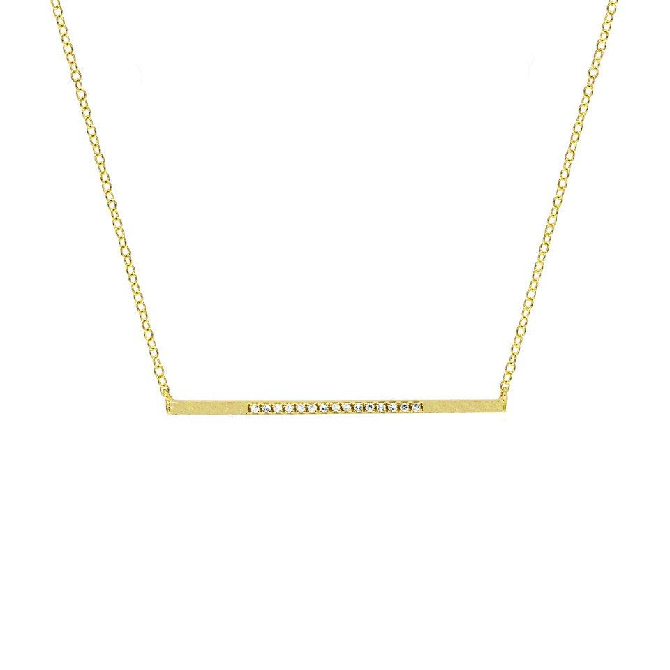 14K GOLD DIAMOND LIAT BAR NECKLACE