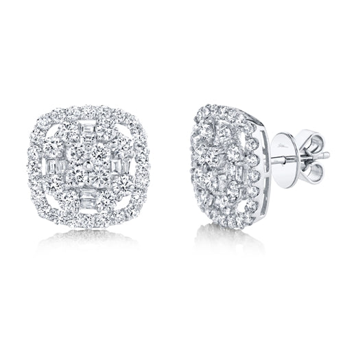 14K WHITE GOLD DIAMOND JOANNE STUDS