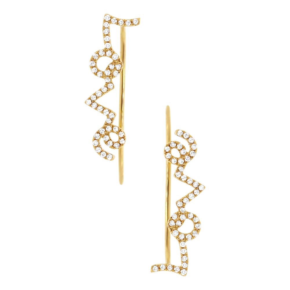 14K GOLD DIAMOND LOVE EAR CRAWLERS