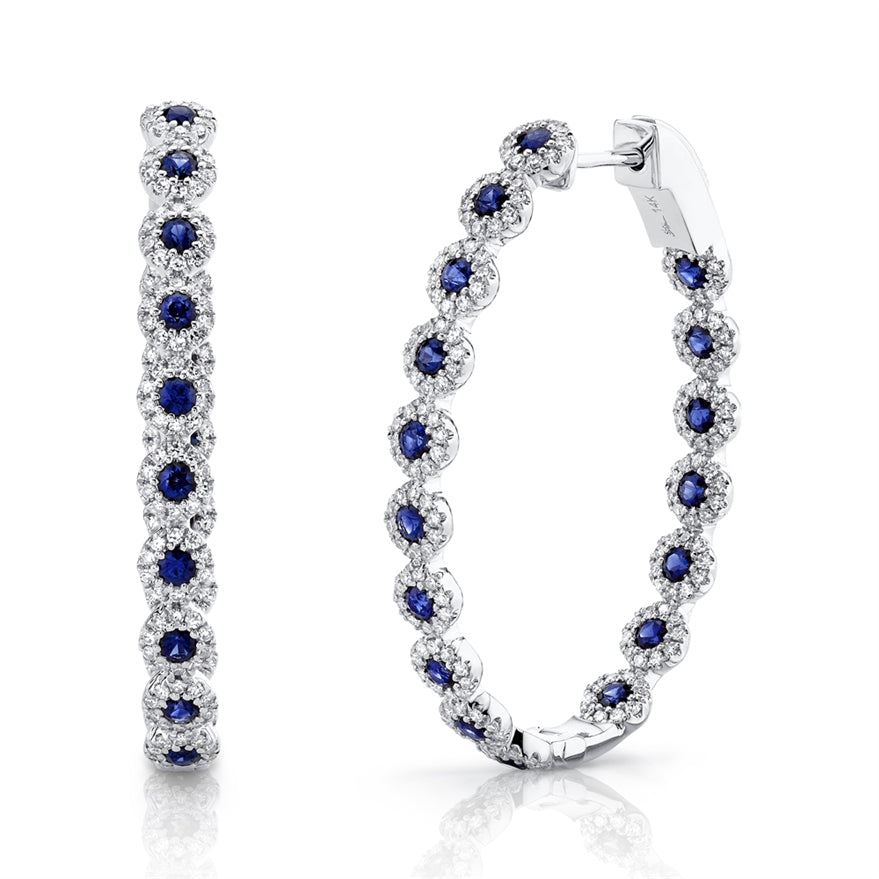 14K GOLD DIAMOND BLUE SAPPHIRE RIVA OVAL HOOPS