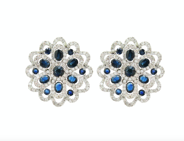 18K WHITE GOLD DIAMOND SAPPHIRE ILENE EARRINGS