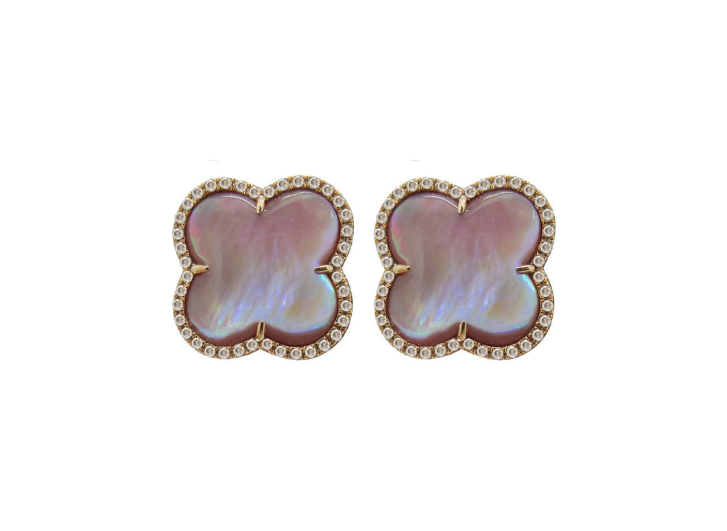 14K ROSE GOLD DIAMOND PINK MOTHER OF PEARL LENA STUDS