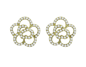 14K GOLD DIAMOND LARGE CAMILIA FLOWER STUDS (ALL COLORS)
