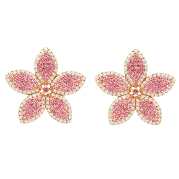 18K GOLD DIAMOND AND PINK SAPPHIRE GALI EARRINGS