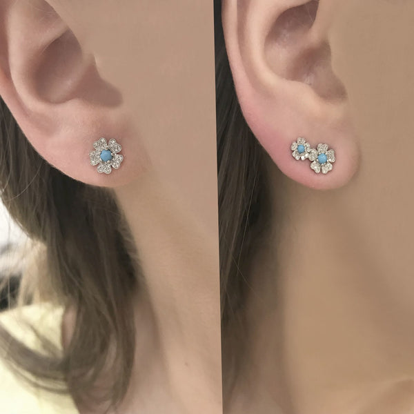 14K GOLD DIAMOND TURQUOISE MARGIE STUDS