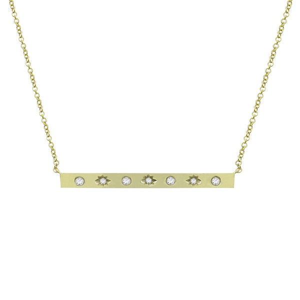 14K GOLD DIAMOND STARBURST BAR NECKLACE (ALL COLORS)