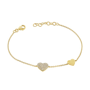 14K GOLD DIAMOND HAYDEN HEART BRACELET