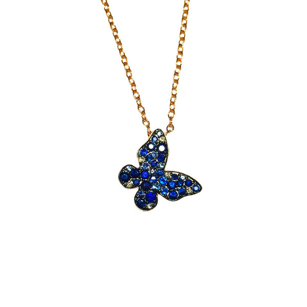 14K ROSE GOLD DIAMOND SAPPHIRE BUTTERFLY NECKLACE