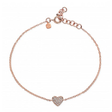 14K GOLD DIAMOND MINI HEART BRACELET (ALL COLORS)