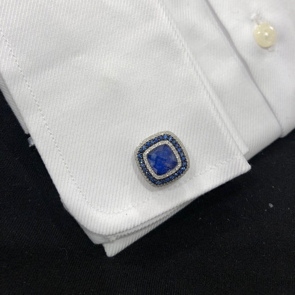 14K GOLD DIAMOND AND BLUE SAPPHIRE ANDREW CUFFLINKS