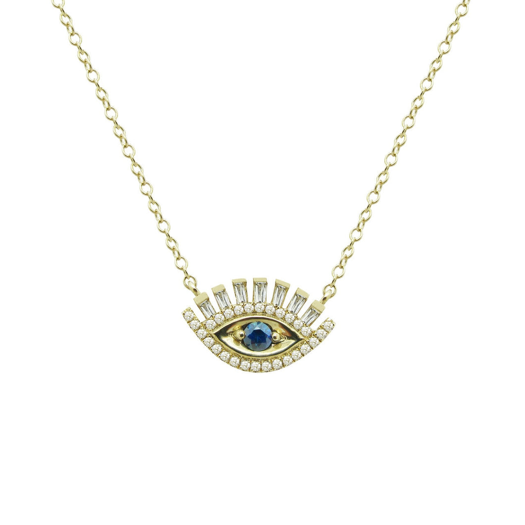 14K GOLD DIAMOND SAPPHIRE EYE CANDY NECKLACE