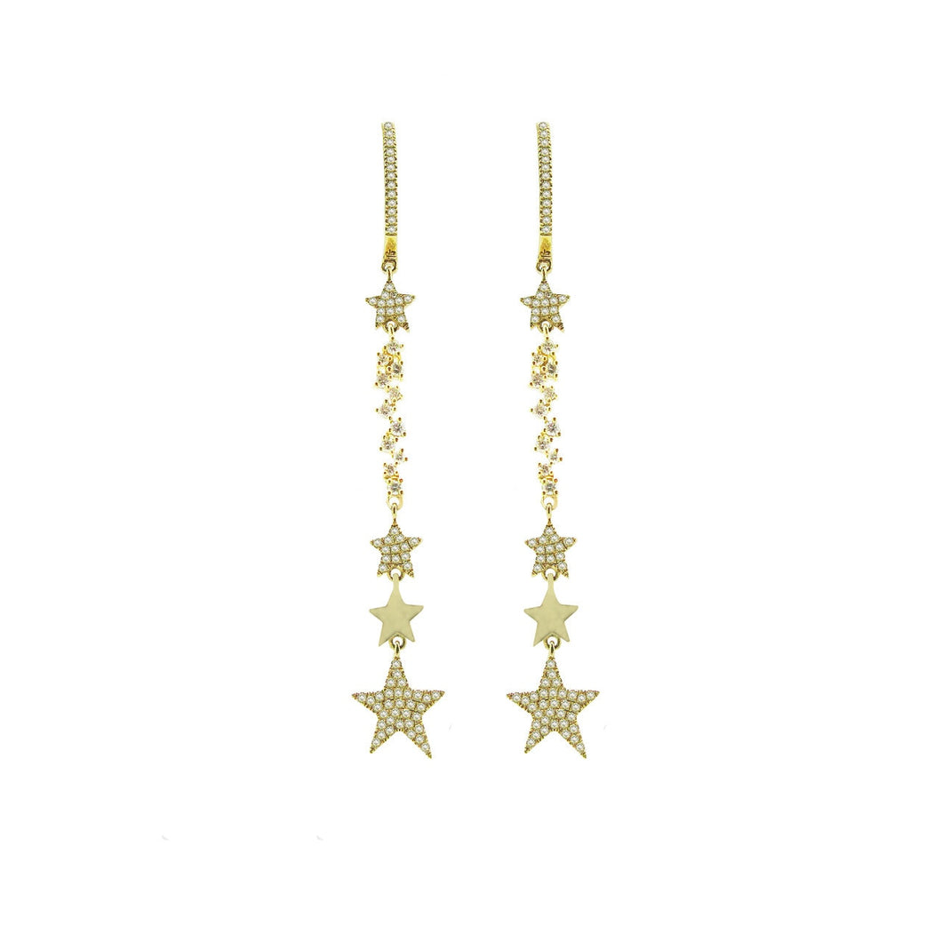 14K GOLD DIAMOND VANESSA STAR EARRINGS