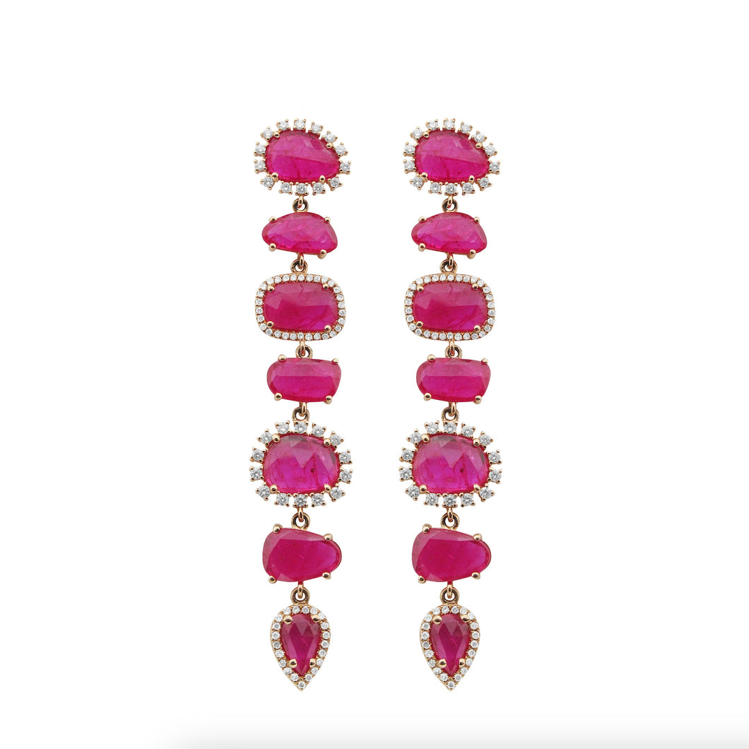 14K GOLD DIAMOND AND RUBY ALEXIS EARRINGS