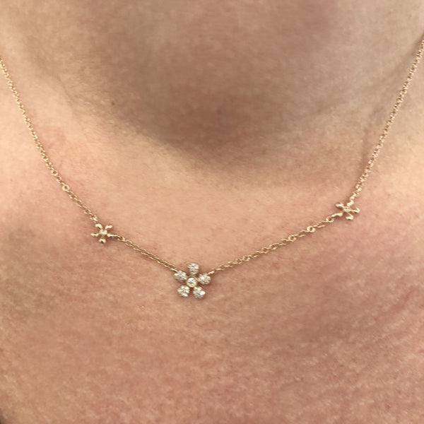 14K GOLD DIAMOND MINNIE NECKLACE