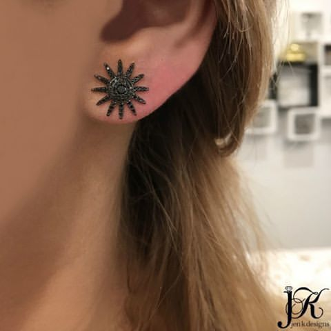 14K GOLD BLACK DIAMOND STARBURST STUDS (ALL COLORS)