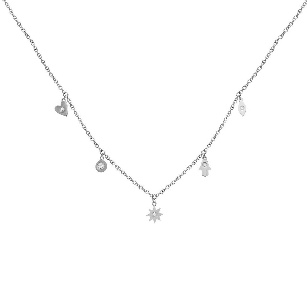 14K GOLD DIAMOND CHARM NECKLACE (ALL COLORS)