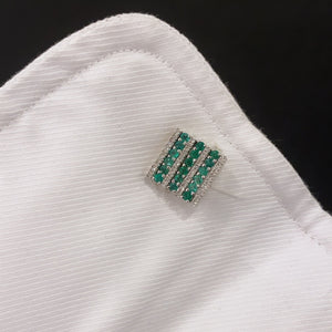 14K GOLD DIAMOND EMERALD MATTHEW CUFFLINKS