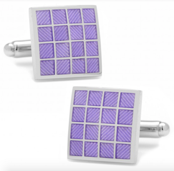 Purple Checker Square Cufflinks