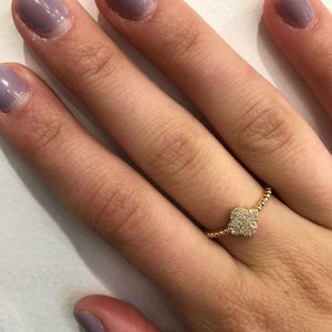 14K GOLD DIAMOND ALICIA CLOVER RING