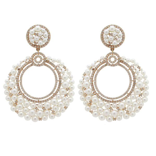 18K ROSE GOLD PEARL DIAMOND MAXINE EARRINGS