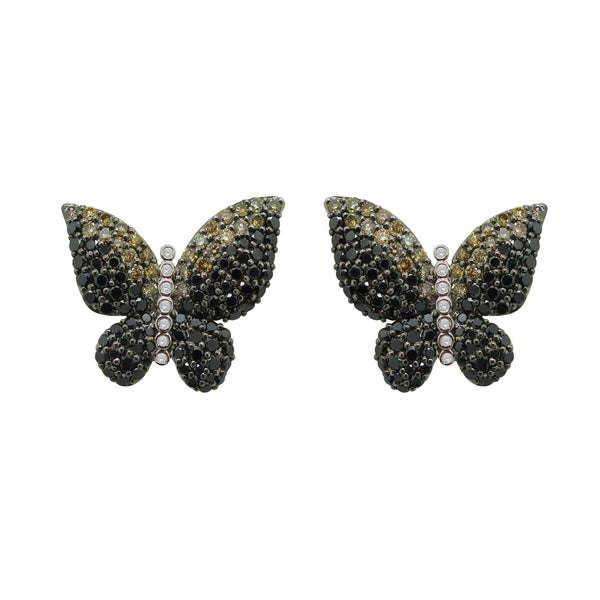 18K GOLD DIAMOND MELODY BLACK BUTTERFLY EARRINGS