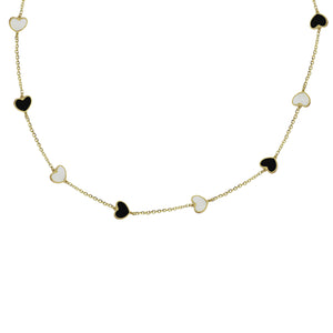 14K GOLD MEGAN BLACK AND WHITE HEART NECKLACE